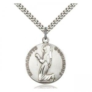 St Bernadette Medal Sterling Silver