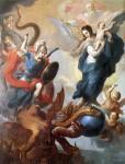 Virgin Mary crushing dragon