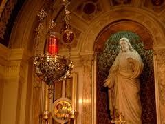 A sanctuary lamp in a Roman Catholic church