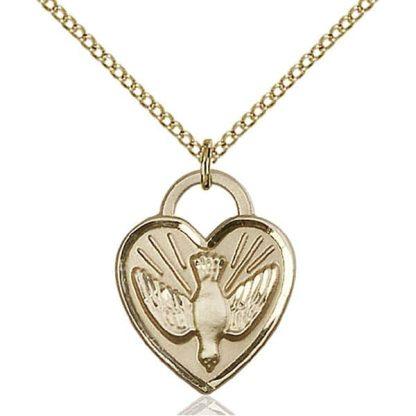 Confirmation Heart Gold Medal Pendant