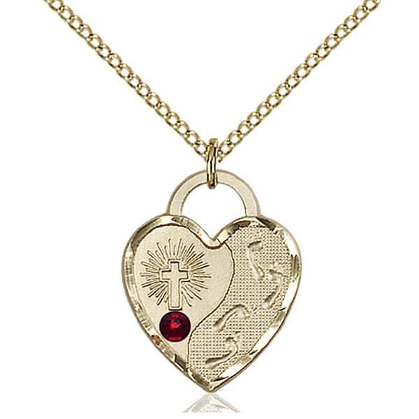 Jesus footsteps heart pendant with garnet swarovski crystal 34 heart pendant made with garnet swarovski crystal mozeypictures Images