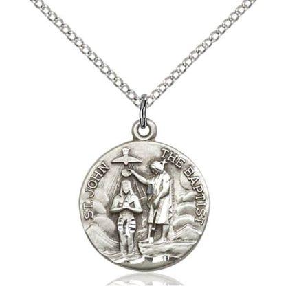 St John the Baptist Sterling Silver Medal Pendant