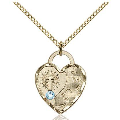 Aqua Birthstone Pendant Necklace for March