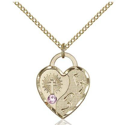 Christian Heart Birthstone Necklace with Amethyst Swarovski Crystal