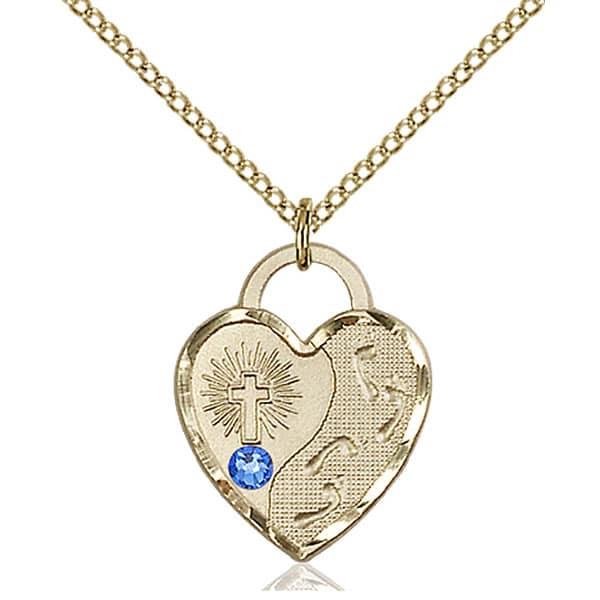 Jesus Footsteps Heart Pendant with Sapphire Swarovski Crystal 3 4″ fdccbd664