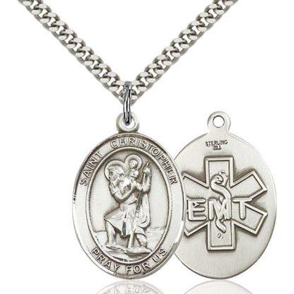 Sterling Silver St. Christopher / EMT Pendant