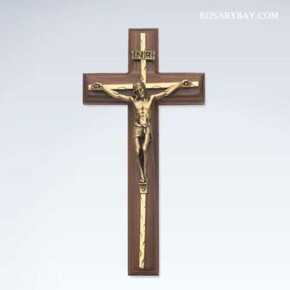 Walnut Crucifix Gold Overlay