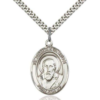 Sterling silver Saint Francis de Sales pendant