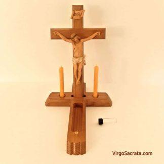 Last Rites Sick Call Crucifix Catholic Sacrament Kit with 100% Beeswax Candles