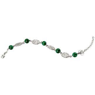 Malachite Round Saint Jude Sterling Silver Rosary Bracelet